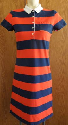 Women's Lands End Short Sleeve Polo Rugby Red & Blue Striped Shirt Dress XS 2-4 #LandsEnd #ShirtDress #Casual