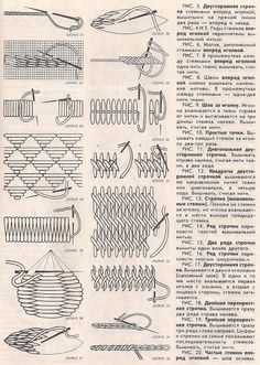 Всем, кто вяжет, дарю старые идеи для новых работ Crewel Embroidery, Vintage Embroidery, Vintage Sewing, Cross Stitch Embroidery, Embroidery Patterns, Cross Stitch Tutorial, Needlepoint Patterns, Embroidery Techniques, Sewing Hacks