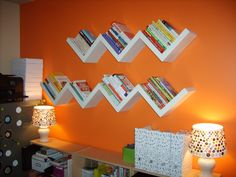 My New Office – creative book storage - floating diagonal shelves