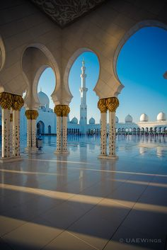 Sheikh Zayed Mosque! Abu Dhabi, UAE - Arch Framing Sky Islam Muslim Architecture Exterior Shadow