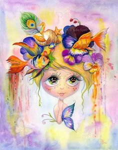 """Watercolor Painting """"Whimsy""""Instant Downloadprintable artwork. Please note, that no physical item will be sent.1 JREG, high resolution 300 dpi. Size: 12,6 x 16 inches (32cm x 41cm)"""