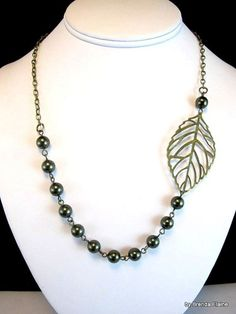 Asymmetric Pearl and Leaf Necklace   byBrendaElaine - Jewelry on ArtFire