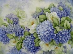 "Hydrangeas with White Roses painted on 14""x12"" porcelain tile"