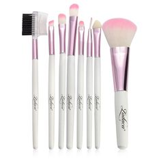 Zodaca 8-piece Cosmetic Makeup Beauty Professional Basic Natural Brush Tool Set with Pouch Bag (Pink)