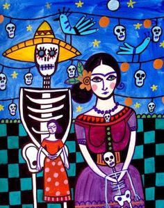 Frida Kahlo Day of the Dead  Mexican Folk Art by HeatherGallerArt, $24.00