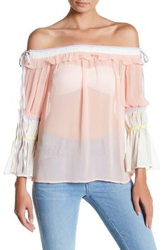 Off-the-Shoulder Chiffon Blouse by Whyte Eyelash on @nordstrom_rack