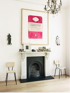 I like the black fireplace surrounded by white.