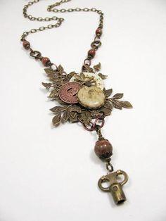 Upcycled Jewelry  Mixed Media Assemblage  Steampunk by thekeyofa, $130.00