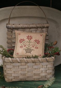 By 1803 Ohio farm baskets Cross Stitch Samplers, Cross Stitching, Cross Stitch Embroidery, Primitive Christmas, Christmas Cross, Cross Stitch Designs, Cross Stitch Patterns, Basket Weaving, Hand Weaving