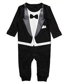 HuntGold 1X Jugendliche Baby einteilige Suit Gentleman Romper Junge Baumwolle Jumpsuit Body Outfit Geeignet Höhe 70cm (schwarz): Amazon.de: Baby