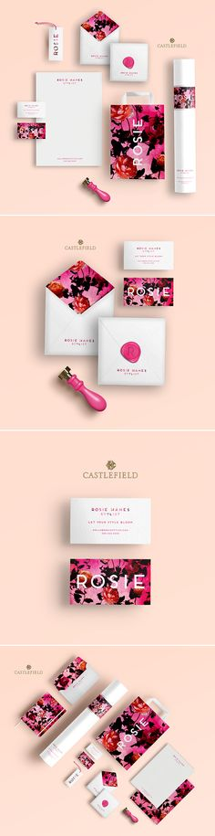 Castlefield Design - Rosie fashion stylist luxury branding, stationery, and packaging. Fashion branding, floral pattern, pink branding, feminine branding. Stationery, shopping bag, notebook, business cards, wax seal, letterhead, greeting card, hangtag, thank you card design.