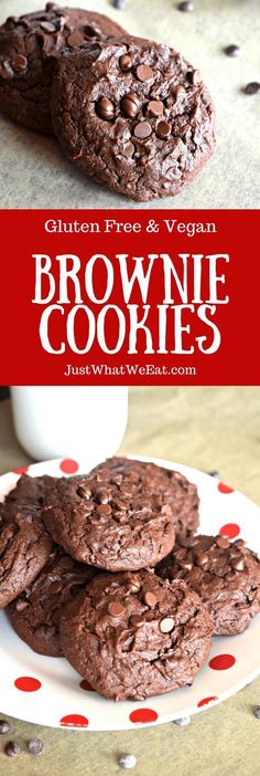 Brownie Cookies ~ These Gluten Free & Vegan Brownie Cookies are SO rich and chocolaty and combine the wonderful flavor and texture you get in a brownie but in cookie form. free Brownie Cookies Brownie Cookies - Gluten Free, Vegan - Just What We Eat Vegan Gluten Free Brownies, Cookies Gluten Free, Gluten Free Desserts, Dairy Free Recipes, Vegan Desserts, Baking Recipes, Vegan Recipes, Dessert Recipes, Vegan Treats