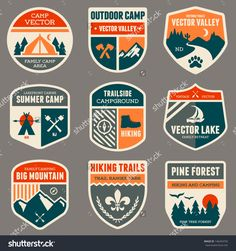 Set Of Vintage Outdoor Camp Badges And Logo Emblems Stock Vector ...