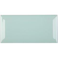 Fabresa Verde biselado glänzend - 7,5 x 15 cm