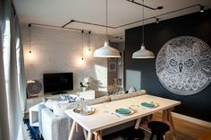 Studio Raca Architekci was tasked to create a modern space with a loft-style interior. An apartment interior Apartment Decorating On A Budget, Apartment Makeover, Interior Decorating, Interior Design, Apartment Interior, Apartment Design, Apartment Lighting, Industrial Apartment, Ikea Ranarp