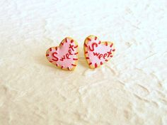 Heart  Cookie Earrings by SouZouCreations on Etsy, $10.00