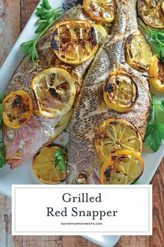 Learn how to prepare and grill whole fish with fresh herbs and lemon with my Grilled Red Snapper recipe. Mediterranean style fish at home! You won't believe how easy it is to cook whole fish! Grouper Recipes, Grilled Fish Recipes, Grilling Recipes, Meat Recipes, Drink Recipes, Fish And Meat, Fish And Seafood, Whole Red Snapper Recipes, Grilled Red Snapper