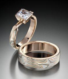 Recycled Mokume Gane Wedding Set, Rolling Star Pattern Love the Sqr Diamond no wood grain on this ring