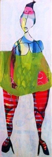 """De Damer"" mixedmedia on canvas by Eva Kock"