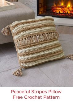 Peaceful Stripes Pillow Free Crochet Pattern in Red Heart With Love