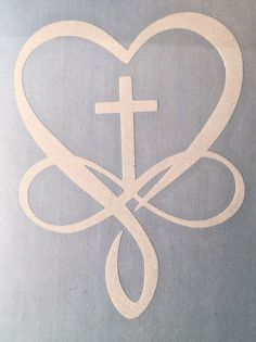 Cross Christian Infinity Heart Decal for your Yeti Rambler Tumbler Laptop Cup in Crafts, Home Arts & Crafts, Other Home Arts & Crafts Stencils, Schrift Tattoos, Christian Tattoos, Christian Drawings, Christian Symbols, Infinity Heart, Infinity Cross, Arts And Crafts, Diy Crafts