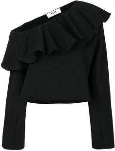 MSGM off-shoulder frilled sweatblouse