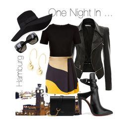 """""""One Night in ..."""" by babett-beattie on Polyvore featuring Mode, MSGM, Christian Louboutin, Ted Baker, Diane Von Furstenberg, Mulberry, San Diego Hat Co. und Bottega Veneta"""