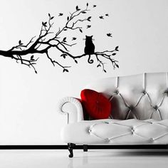 sticker rfid picture from store about birds and cat on tree branches wall art stickers decal home diy decoration wall mural removable bedroom decor wall cat lovers 27 diy