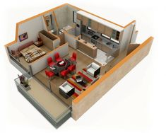 25 One Bedroom House/Apartment Plans Furniture takes up quite a bit of room in this one bedroom, but it doesn't lack for seating. Small Apartment Plans, Apartment Layout, Small Apartments, 3d House Plans, Small House Plans, House Blueprints, Home Interior, Interior Design, Apartment Interior