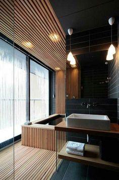 Bathroom design ideas for every taste- Badgestaltung Ideen für jeden Geschmack 7 bathroom design ideas modern bathroom in black with wood - Modern Bathroom Design, Bathroom Interior, Bathroom Ideas, Style At Home, Japanese Style Bathroom, Bad Styling, Japanese Interior Design, Budget Home Decorating, Wooden Flooring