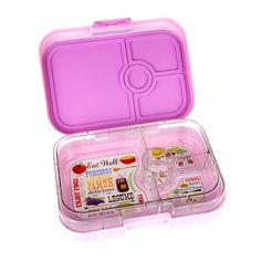 New Pastel Yumbox Panino in Pink Lemonade. Leakproof bento-style lunchbox with 4-compartments for kids and adults.