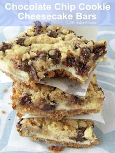 Chocolate Chip Cookie Dough Cheesecake Bars by Bakerette.com