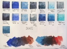 Jane Blundell: most useful blues for Urban Sketching: ultramarine and cerulean (PB36 version) as they will be a liftable mixing pair for skies anywhere in the world. Beyond that, I recommend phthalo blue as a great mixer, and adore the richness of indanthrone blue.