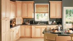 what wall color goes with honey maple cabinets - Google Search
