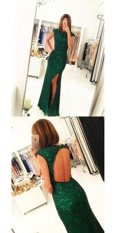 Sexy Slit Prom Gowns, Green Sequins Prom Dress, Open Back Prom Dresses ,Long Mermaid Evening Dress, Backless Formal Dress