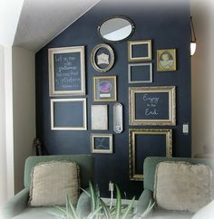 Cool Chalk Board wall... Could use bright colored frames for kids or toy room.