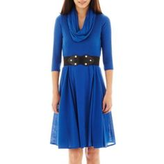 Robbie Bee® Infinity Scarf Belted Sweater Dress - Petite  found at @JCPenney