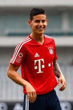 James Rodriguez of FC Bayern Muenchen smiles during a training session at Shanghai Stadium of the Audi Summer Tour 2017 on July 18, 2017 in Shanghai, China.