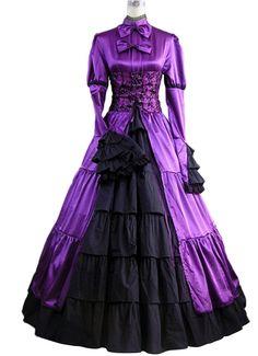AvaLolita Bowtie Corset Purple Gothic Victorian Towering Dress , XL