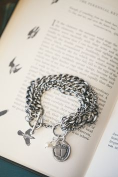 petite family crest bracelet {pewter}
