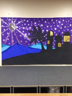 Our school backdrop for our Christmas/Nativity plays. All made from backing paper Christmas Nativity, Christmas Art, Christmas Projects, Christmas Backdrops, Christmas Decorations, Display Ideas Nursery, Nativity Costumes, Backdrop Decorations, Backdrop Ideas
