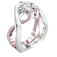 Claude Thibaudeau design Avant Garde style micro pave engagement ring in 18k white and rose gold with pave set diamonds weighing 0.29 carats combined total weight with G-H color and VS clarity. <br /> <br /> <br /> *center stone not included