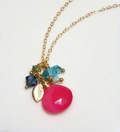 Collar rosa caliente con cristales de Swarovski  collar de