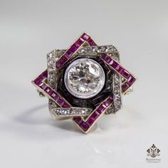 Antique Art Deco 18K Gold 2 05ct Diamond Ruby Ring | eBay