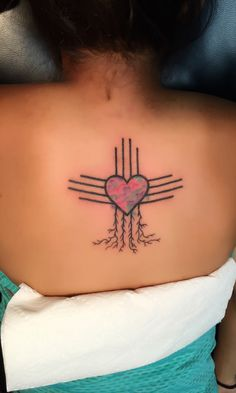 Always know your home roots. New Mexico, zia symbol. Roots, heart, water color