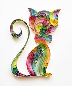 "Quilled Paper Art: ""Colourful Cat"" - Handmade Artwork - Paper Wall Art - Home Decor - Wall Decor - Home Decoration - Quilled Art - Cat Arte Quilling, Paper Quilling Cards, Quilling Work, Origami And Quilling, Paper Quilling Patterns, Quilled Paper Art, Quilling Paper Craft, Paper Crafts, Paper Wall Art"