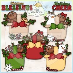 Christmas Gingerbread Baskets - NE Marjorie Ann Designs Clip Art
