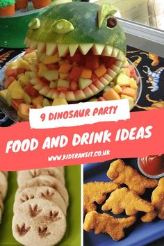 Put some bite into your birthday party with these dinosaur food and drink ideas . Put some bite into your birthday party with these dinosaur food and drink ideas for a first birthda Dinosaur First Birthday, 1st Boy Birthday, 3rd Birthday Parties, Birthday Party Decorations, Birthday Party Food For Kids, Party Food Kids, 1st Birthday Party Ideas For Boys, Birthday Party Drinks, Dinosaur Party Decorations