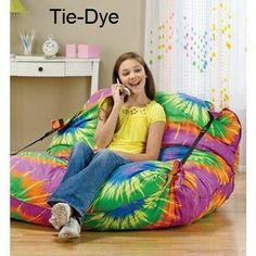 Relax  Lounger Tie Dye in Spring Big Book Pt 2 from Fingerhut on shop.CatalogSpree.com, my personal digital mall. How To Tie Dye, Happy Hippie, Rest And Relaxation, Tie Dyed, Craft Items, Gifts For Family, Girl Room, Tween, Bean Bag Chair