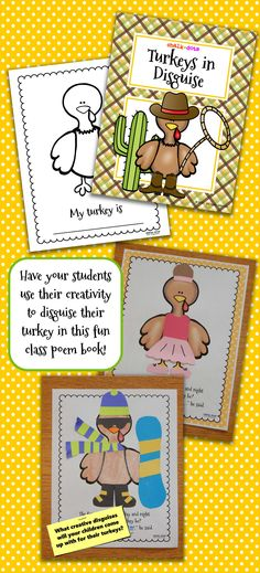 Get your children thinking creatively with this fun turkey disguise art project! It makes a fun class poem book that can be put in your classroom library to be shared throughout the year!